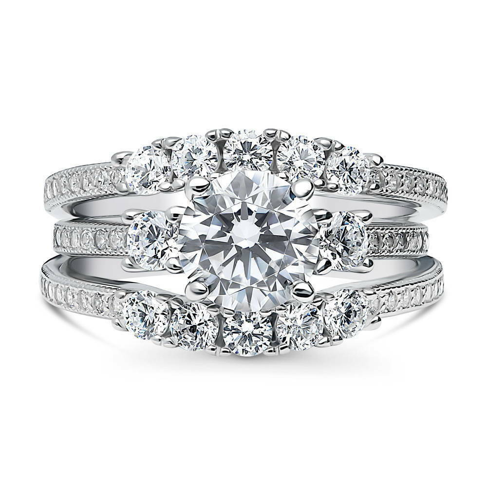 Stone Wedding Rings: BERRICLE Sterling Silver Round CZ 3-Stone 5-Stone