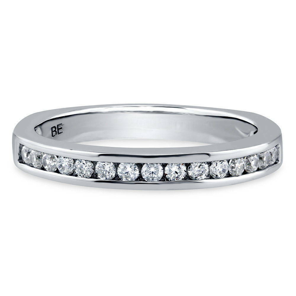 Berricle Sterling Silver Channel Set Round Cz Half