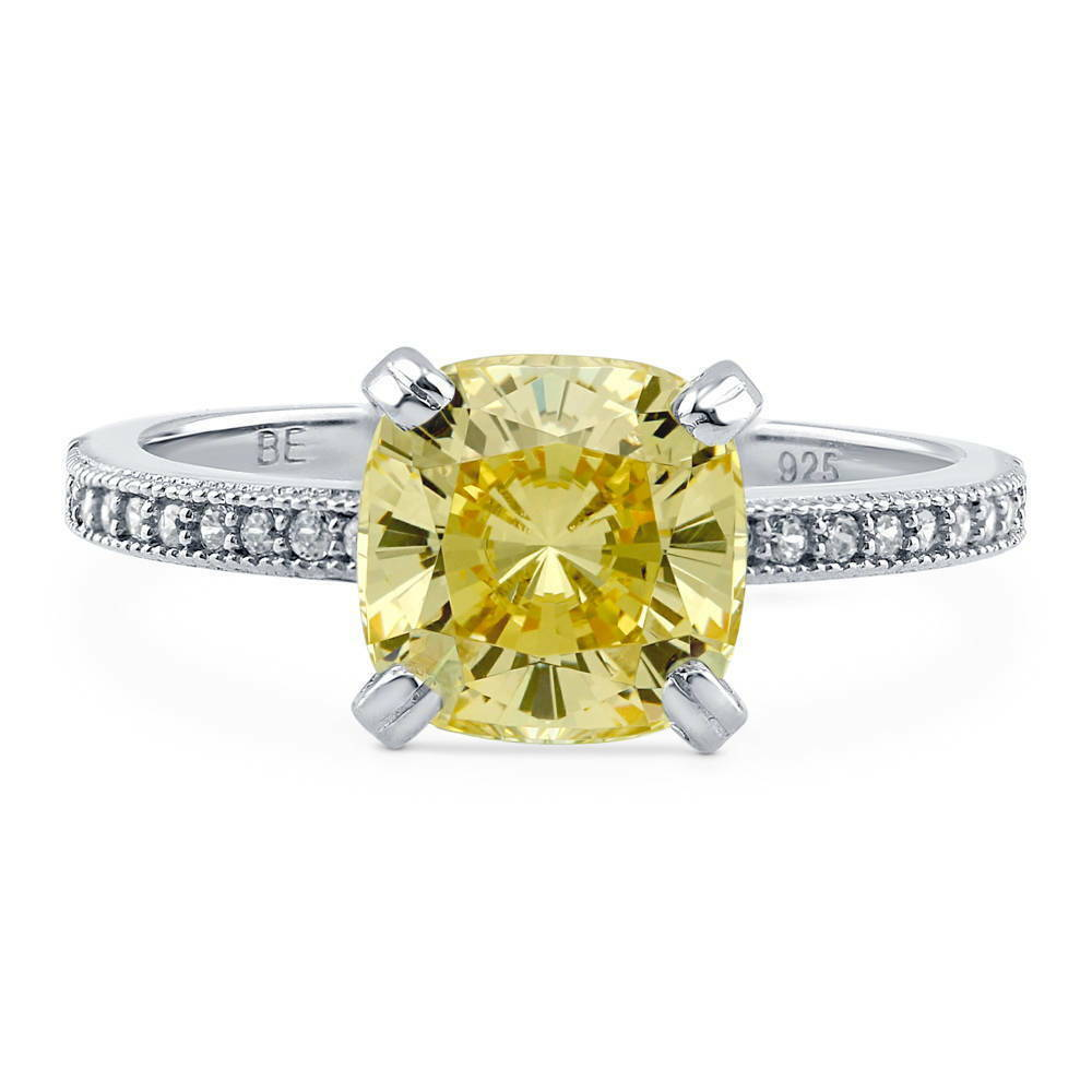 silver cushion canary yellow cubic zirconia cz solitaire. Black Bedroom Furniture Sets. Home Design Ideas