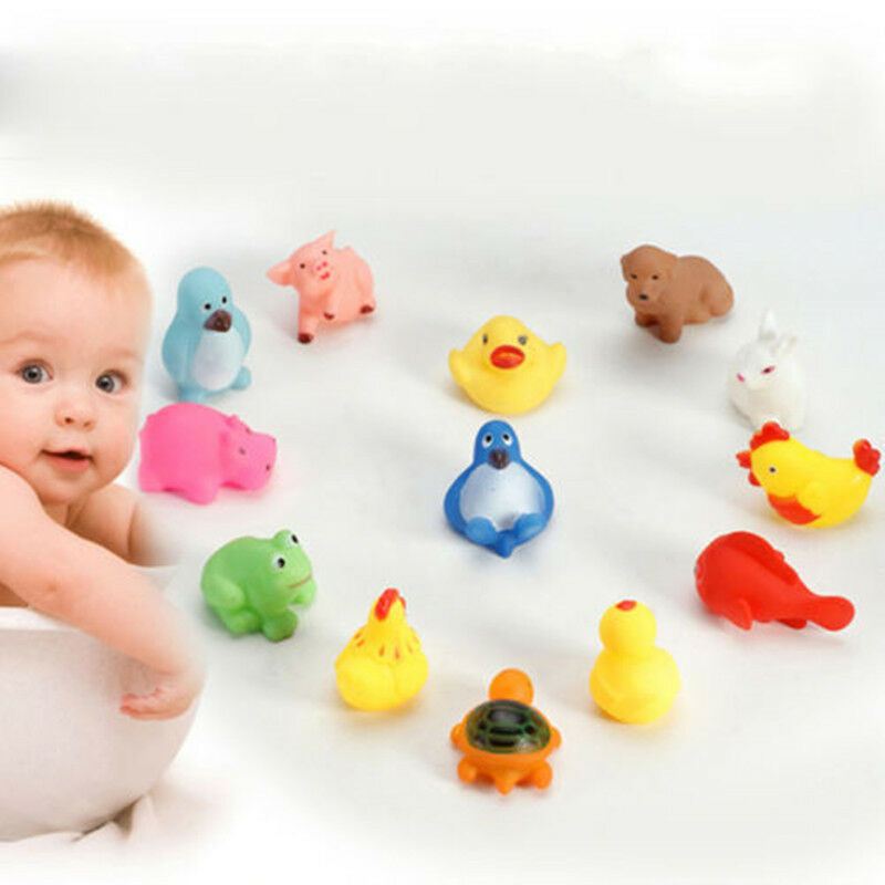 13pcs animal rubber toy baby bath toys squeaky floating. Black Bedroom Furniture Sets. Home Design Ideas