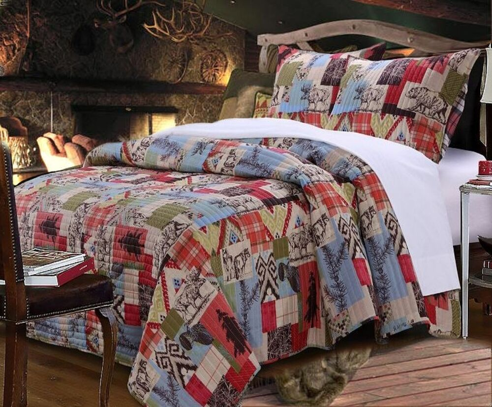 RUSTIC LODGE Full Queen QUILT SET: RED PLAID REVERSIBLE ...