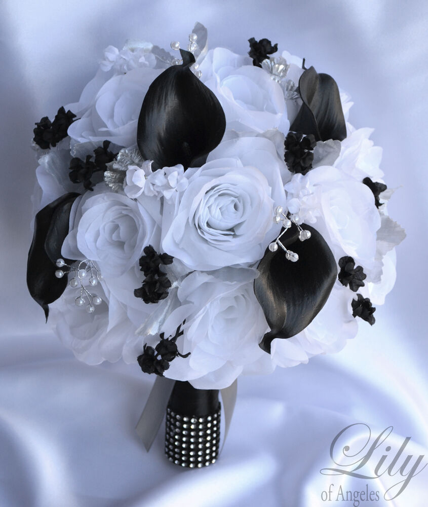 17 Piece Package Silk Flower Wedding Bridal Bouquet Calla ...