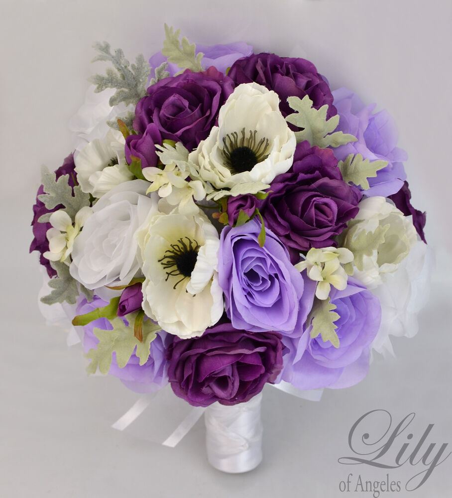 17 piece package silk flower wedding bridal bouquets plum lavender white ivory ebay. Black Bedroom Furniture Sets. Home Design Ideas