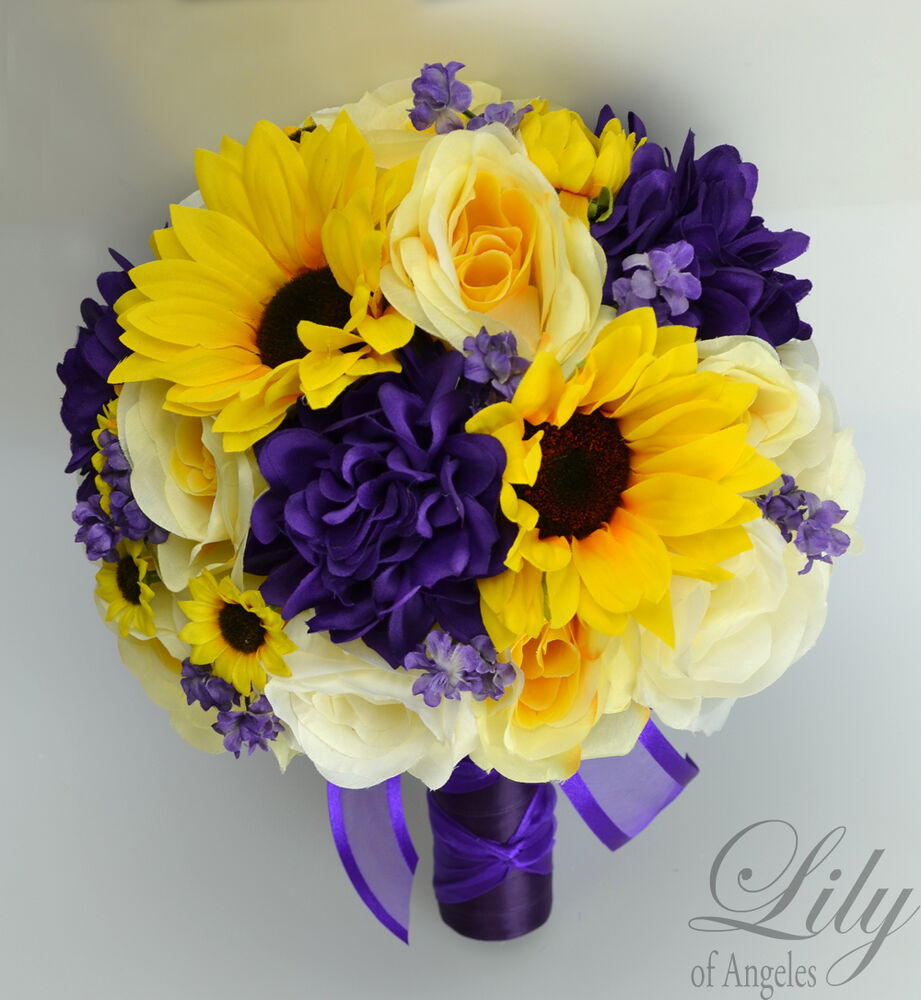 17 piece package silk flower wedding bridal bouquet sets sunflower purple yellow ebay. Black Bedroom Furniture Sets. Home Design Ideas