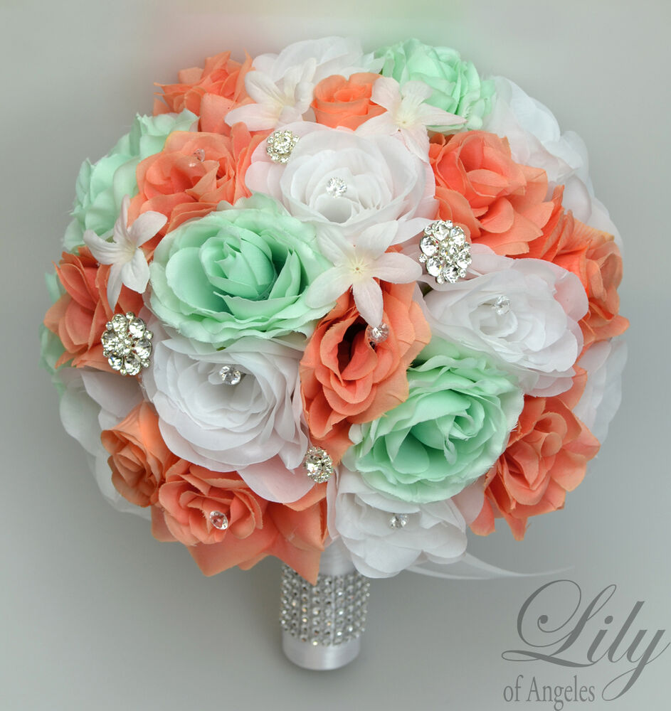 17 piece package silk flower wedding bridal bouquets for Wedding bouquets