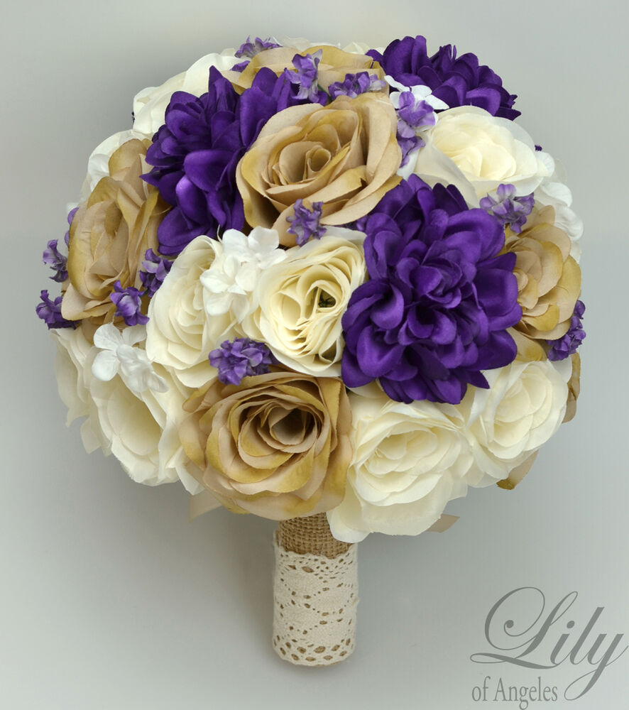 17 Piece Package Silk Flower Wedding Bridal Bouquet Sets ...