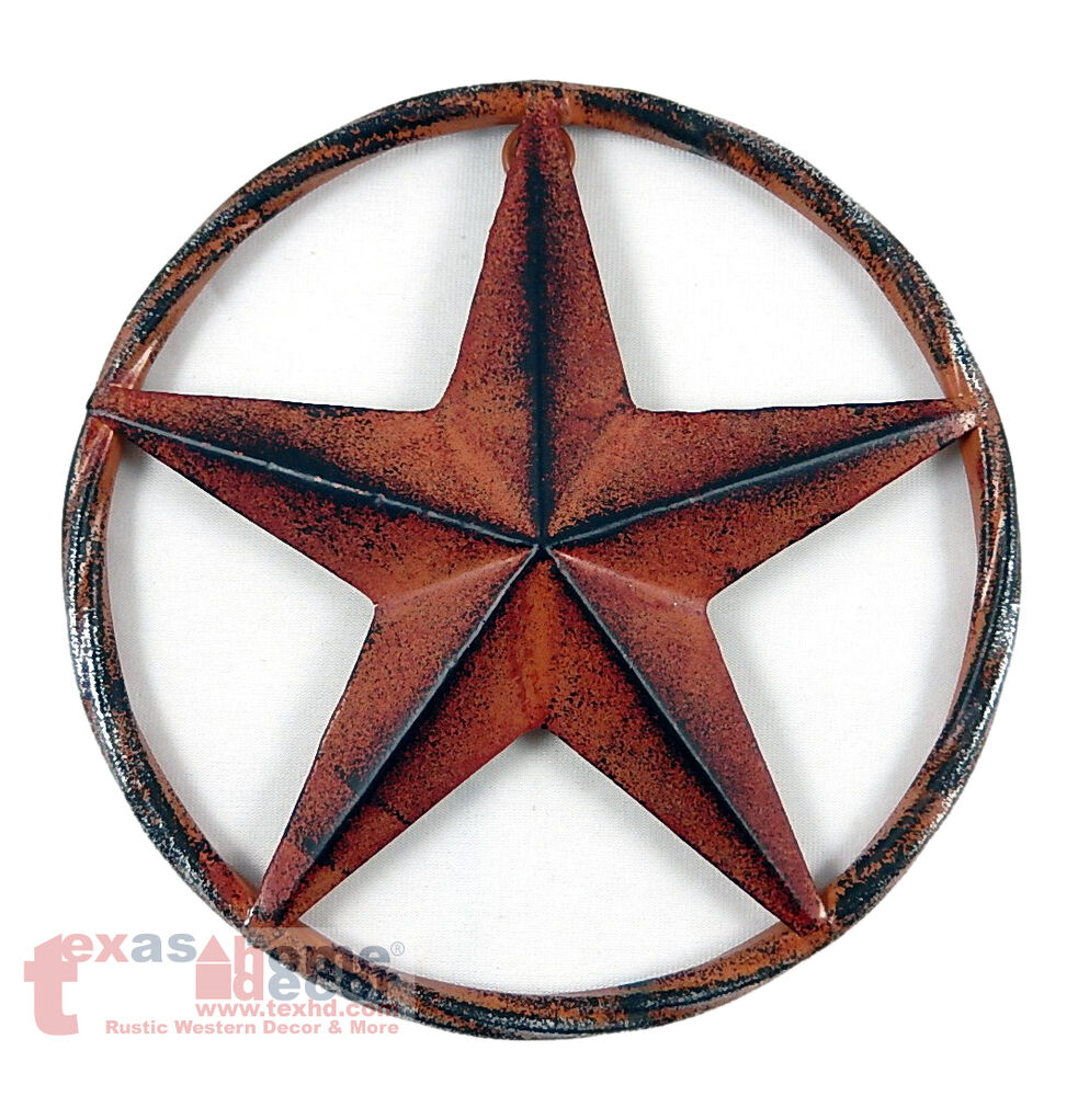 barn star rust red rustic metal aluminum rope like ring texas wall decor 3d 8 ebay. Black Bedroom Furniture Sets. Home Design Ideas