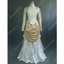 Victorian Bustle Riding Habit Noel Holiday Bridal Gown Dress Theater Costume 139
