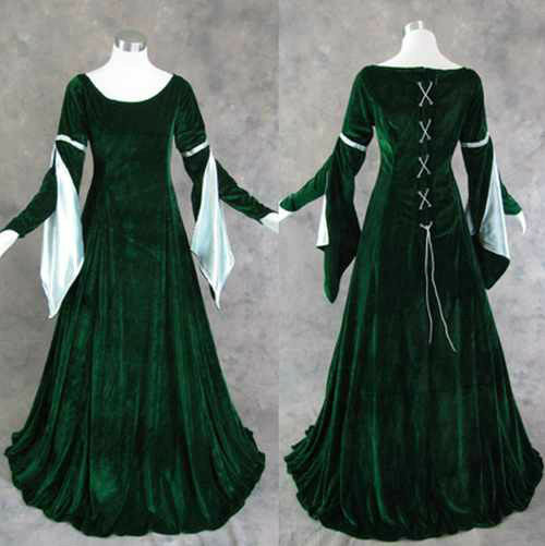 Renaissance Wedding Dresses Plus Size: Green Velvet Medieval Renaissance Gown Dress Costume LOTR