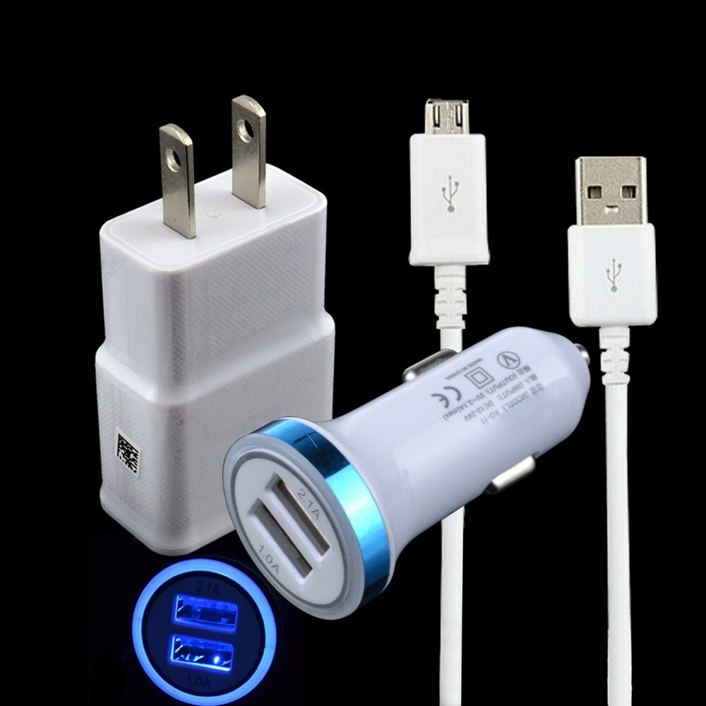 3in1 Kits AC Wall+Car Charger+USB Cable for Samsung Galaxy ...
