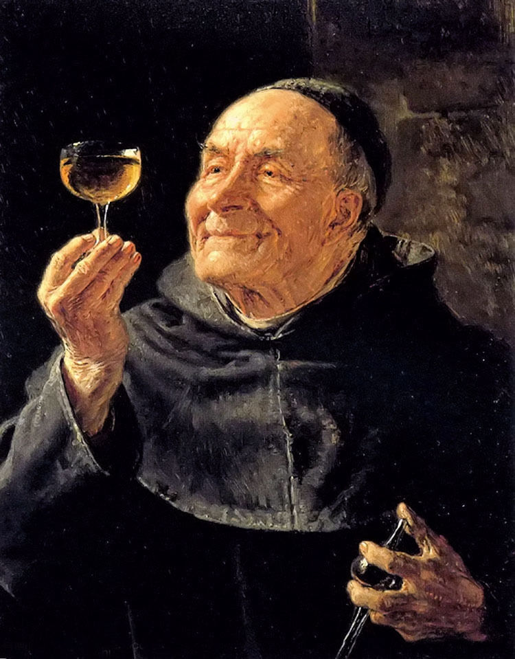 Oil painting eduard grutzner a good drink old man for Painting while drinking wine