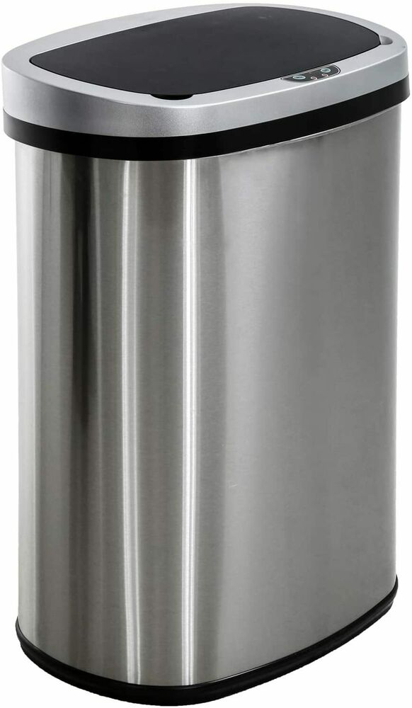 New  Gallon Touch Free Sensor Automatic Stainless Steel Trash Can Kitchen R