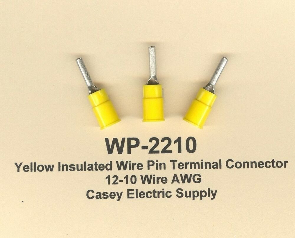 10 Insulated Wire Covers : Yellow insulated wire pin terminal connectors