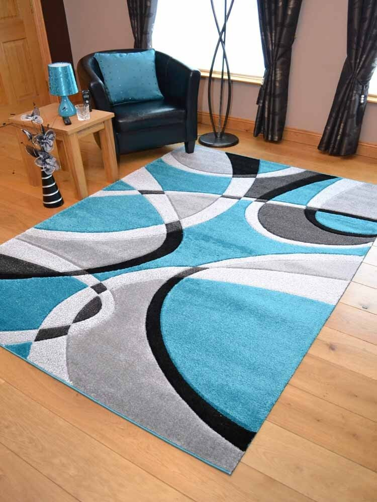 Teal Blue Silver Black Grey Modern Soft Thick Rugs Small