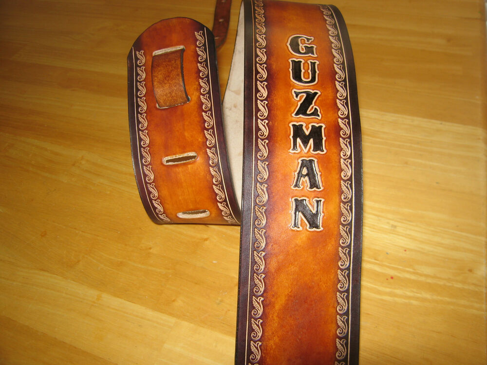 leather guitar strap custom made 3 1 2 39 39 width with your name tan and cordovan ebay. Black Bedroom Furniture Sets. Home Design Ideas