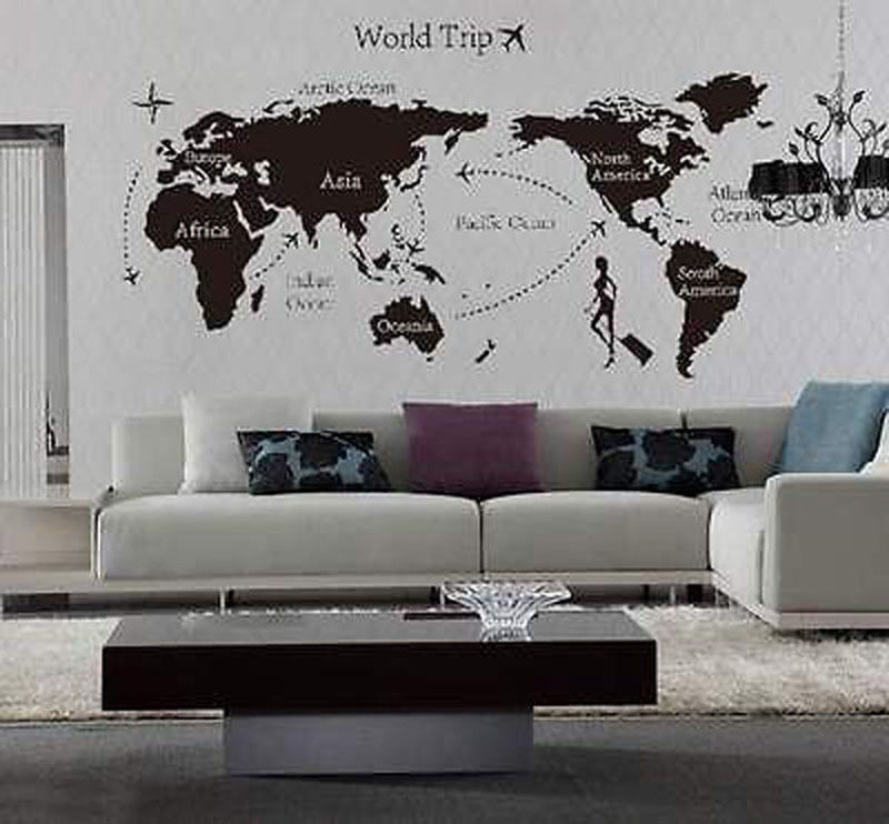 Home Decor Mural Art Wall Paper Stickers ~ World trip travel map wall stickers art vinyl decal home