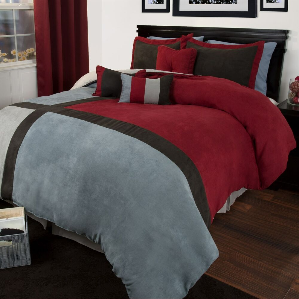Lavish Home Rhea 7 Piece Suede Comforter Set Maroon And