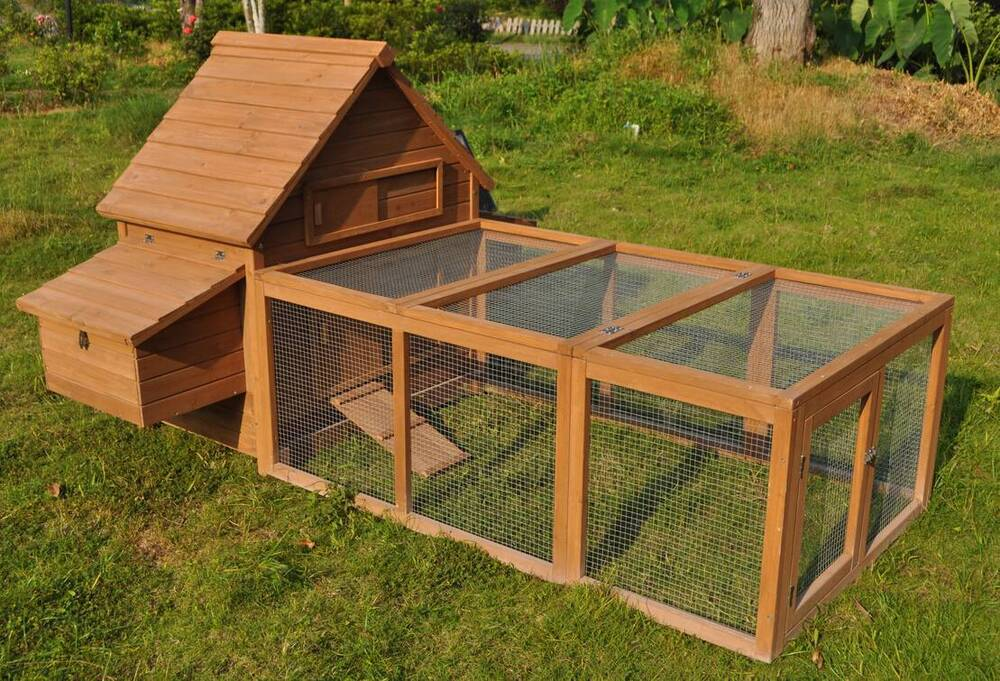96 wood hen chicken duck poultry run hutch house coop for Chicken and duck coop