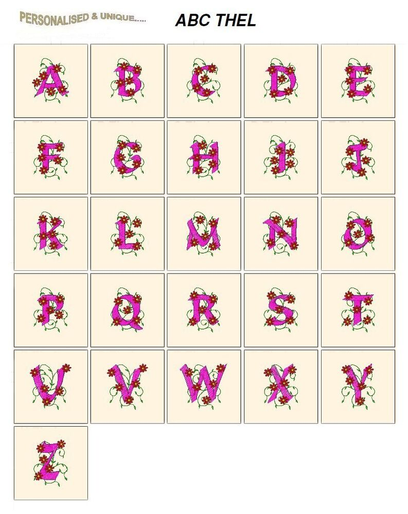 Alphabet thel cd or usb machine embroidery designs files