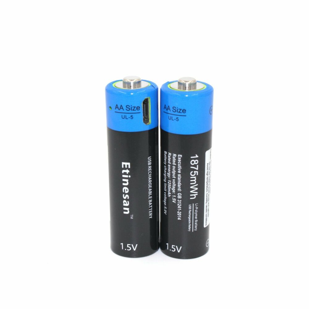2pcs etinesan 1 5v aa 1875mah lipo rechargeable lithium powerful usb batteries ebay. Black Bedroom Furniture Sets. Home Design Ideas