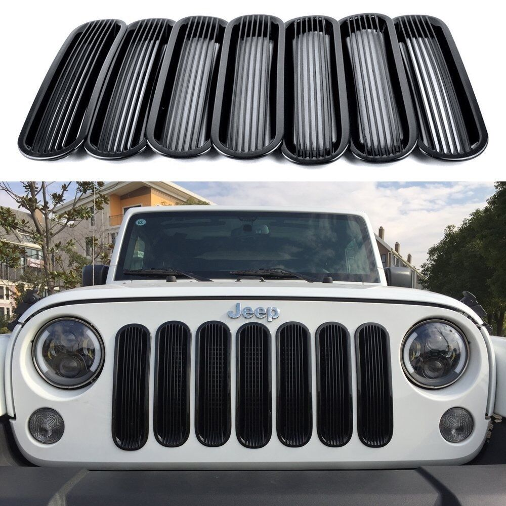 2007-2016 Jeep Wrangler Vertical Style Black Bars Grill