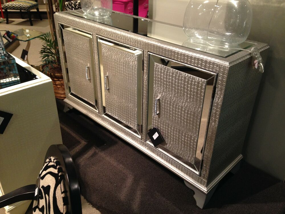 hollywood regency mirrored console cabinet dresser table