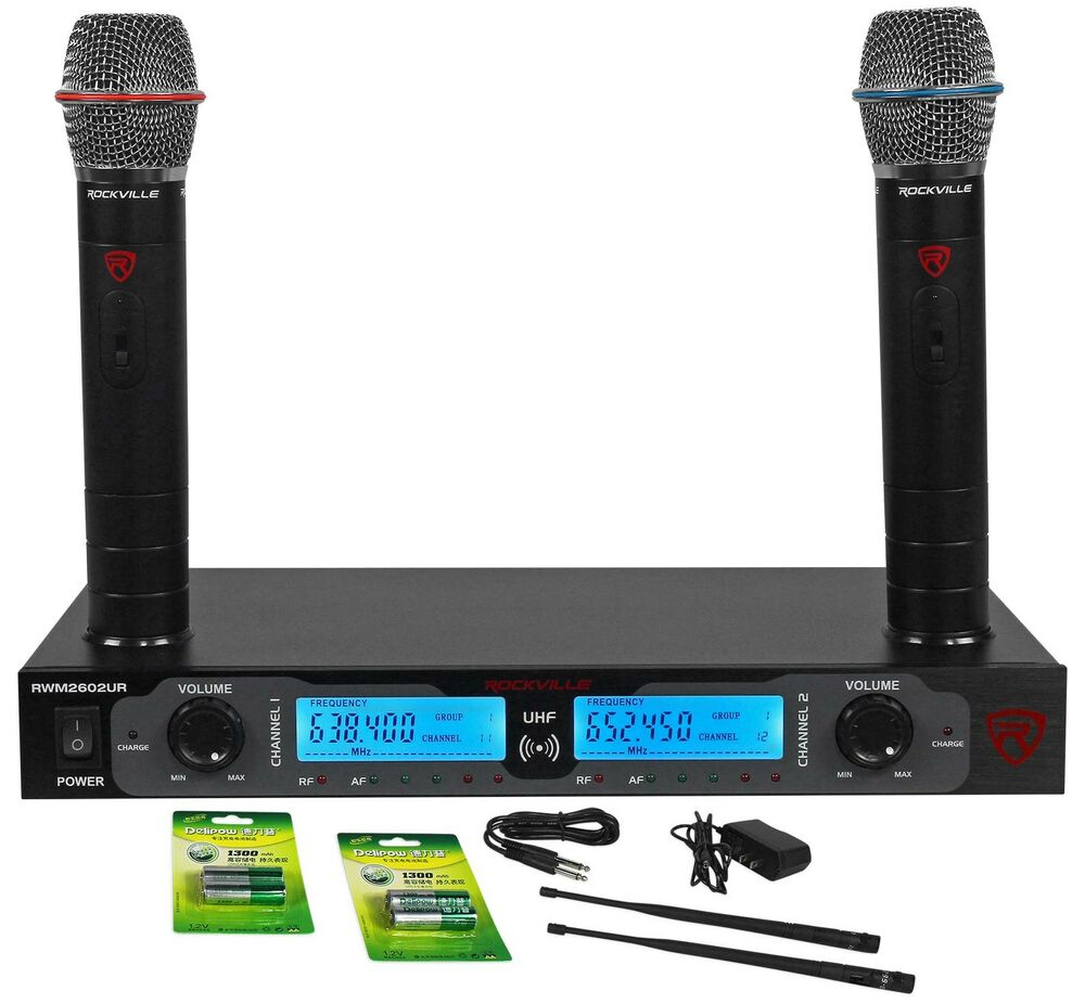 rockville rwm2602ur uhf wireless dual recharageable handheld microphone system ebay. Black Bedroom Furniture Sets. Home Design Ideas