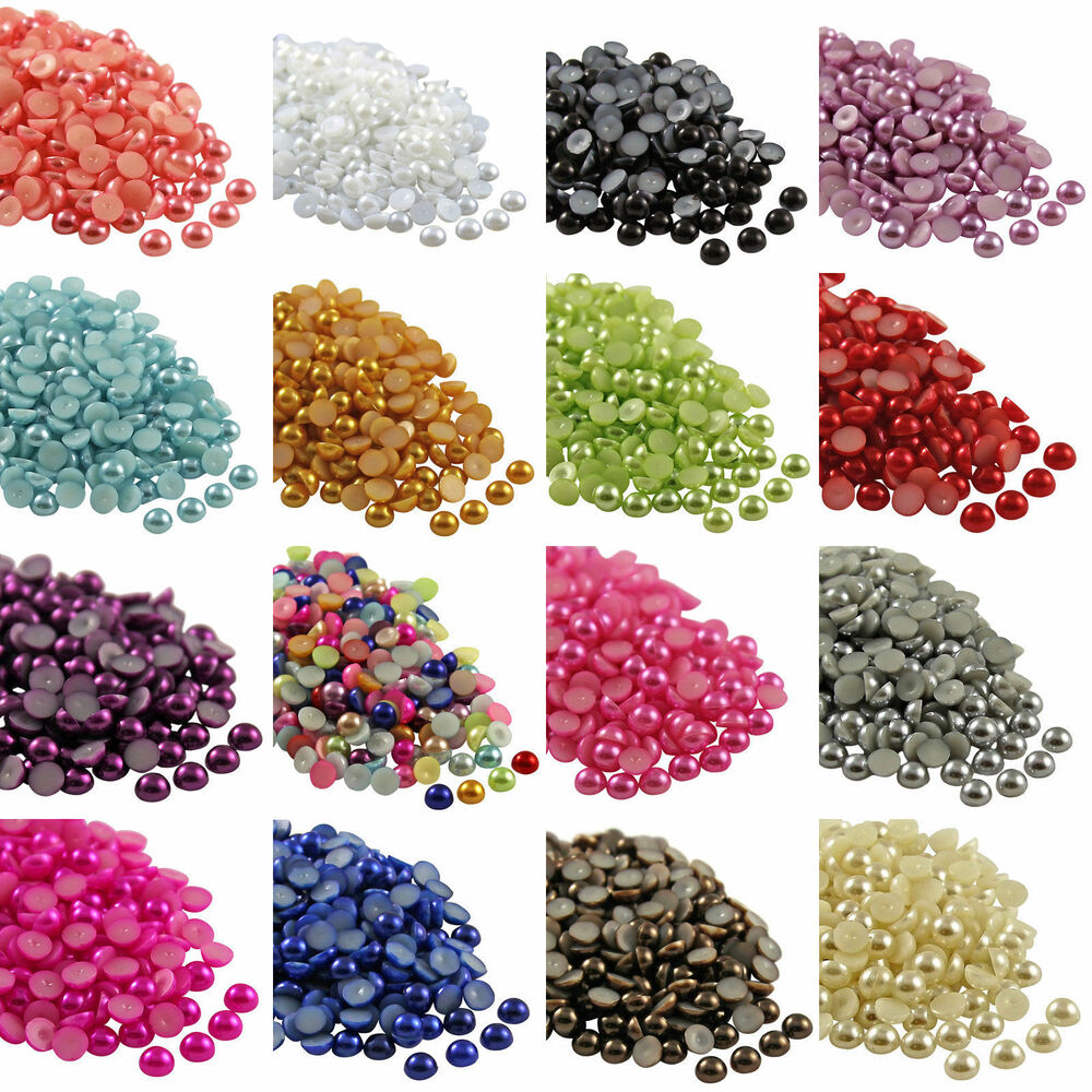Pearl Beads: 2000pcs 2-8mm Half Round Pearl Bead Flat Back Size