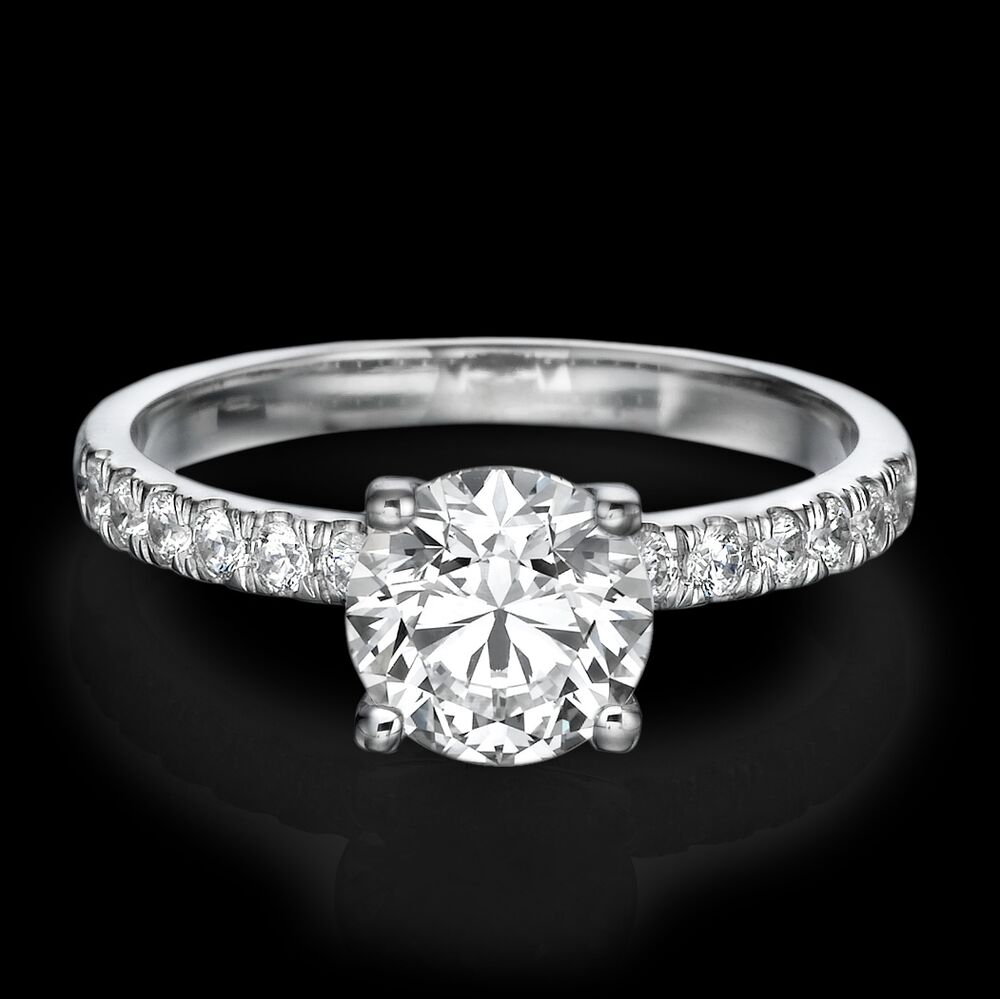 1 carat d si1 enhanced diamond engagement ring round cut. Black Bedroom Furniture Sets. Home Design Ideas