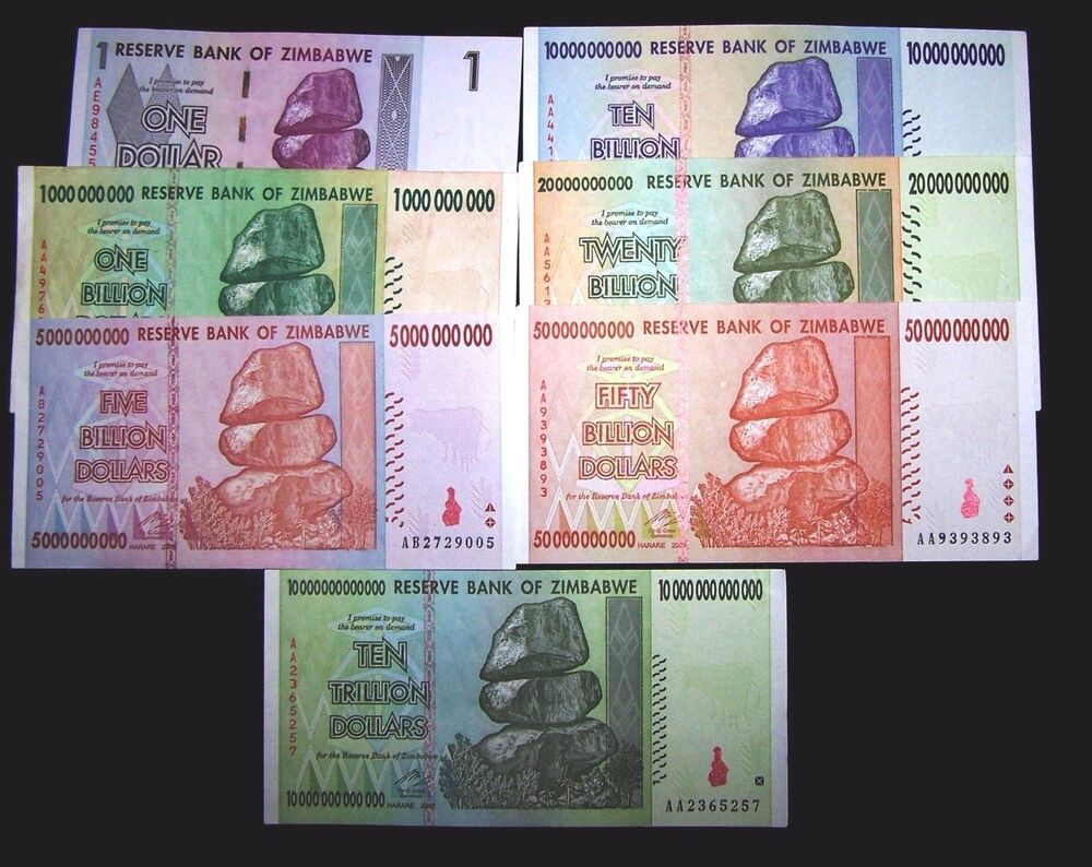 Details About 7 Zimbabwe Banknotes 1 Dollar 5 10 20 50 Billion Trillion Dollars Currency