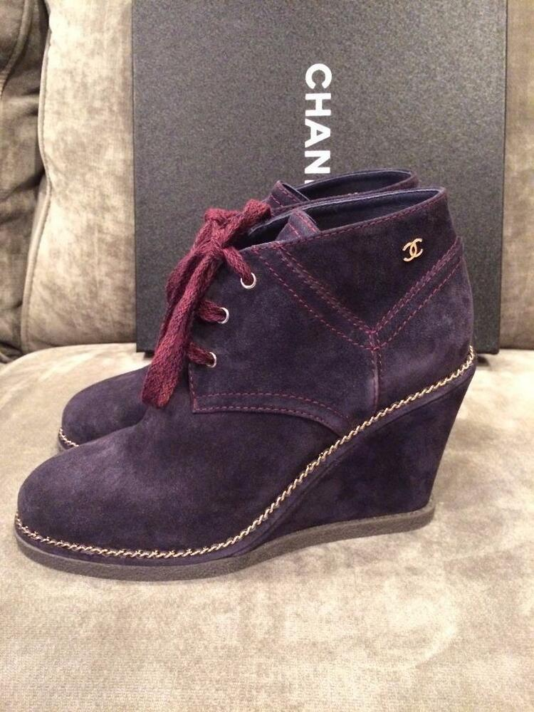 chanel 15b suede wedge heel chain trim lace up ankle boots