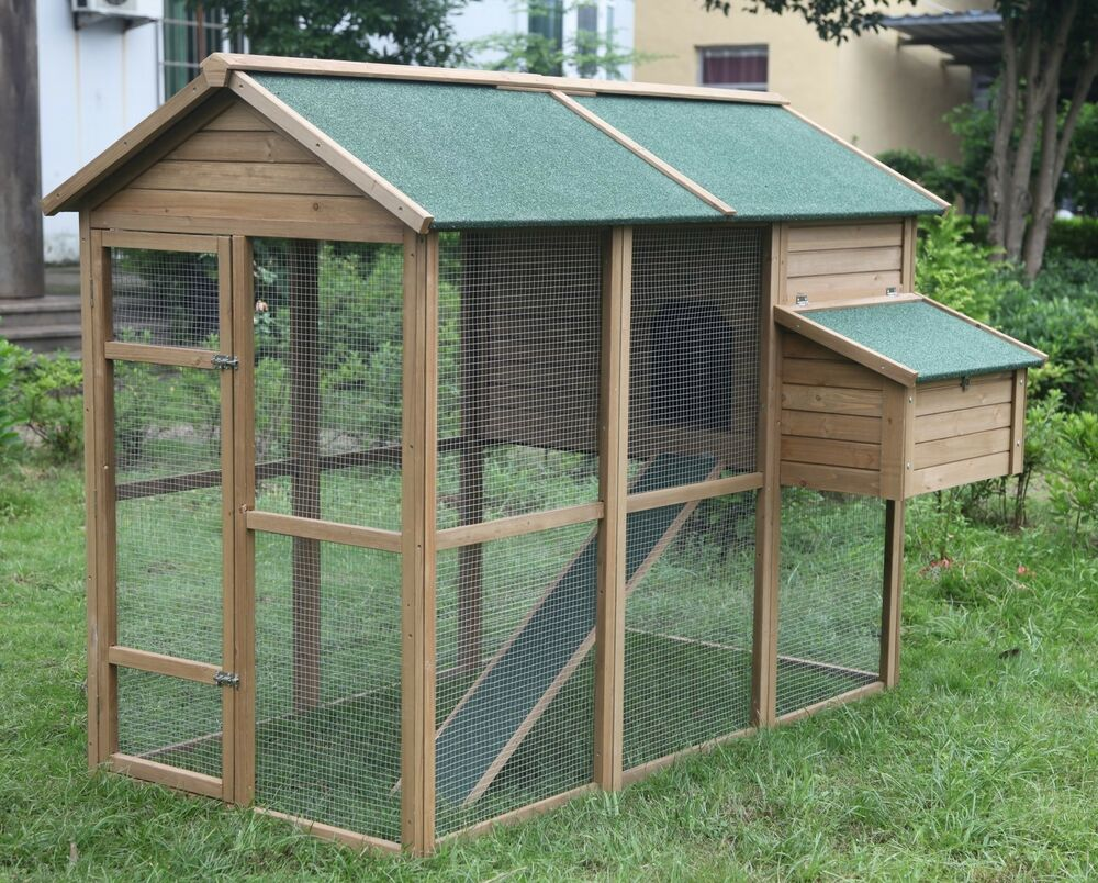 Huge 79 chicken coop running cage backyard poultry hen for Chicken and duck coop