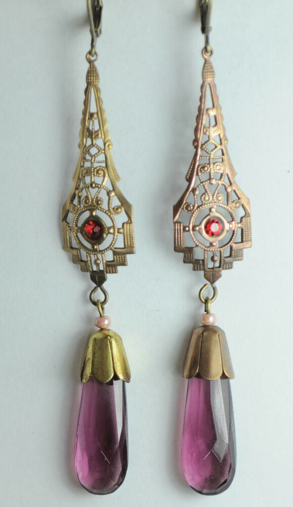 S Czech Glass Earrings