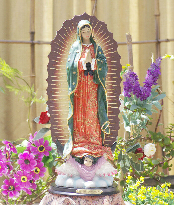 Rare Catholic Mexico Our Lady Of Guadalupe Virgin Mary Resin Statue 13 Ebay