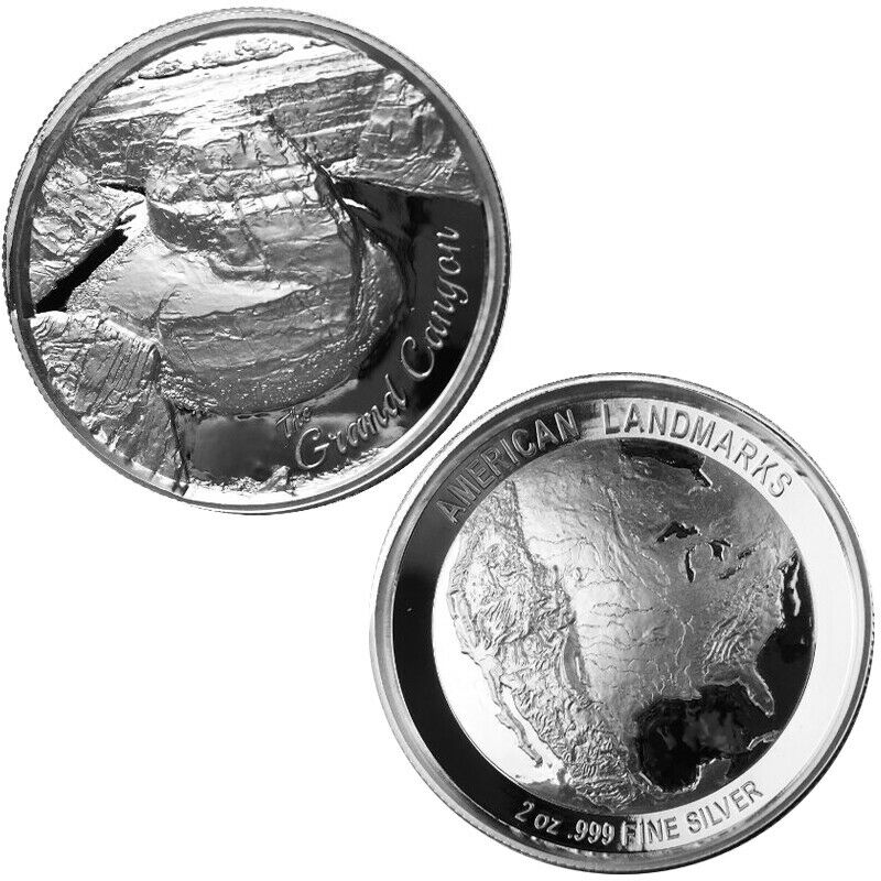 2 Oz Elemetal Grand Canyon Ultra High Relief Silver Round