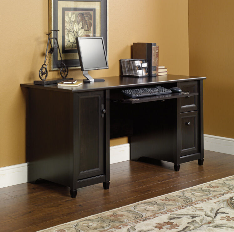 New sauder furniture 408558 edge water home office black executive computer desk ebay - Sauder office desk ...