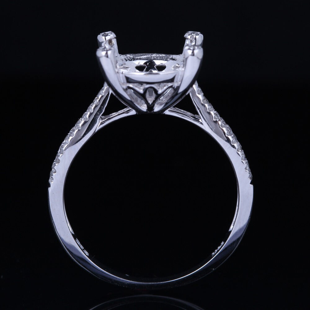 95 10mm round real diamond semi mount engagement ring for Wedding ring mounts