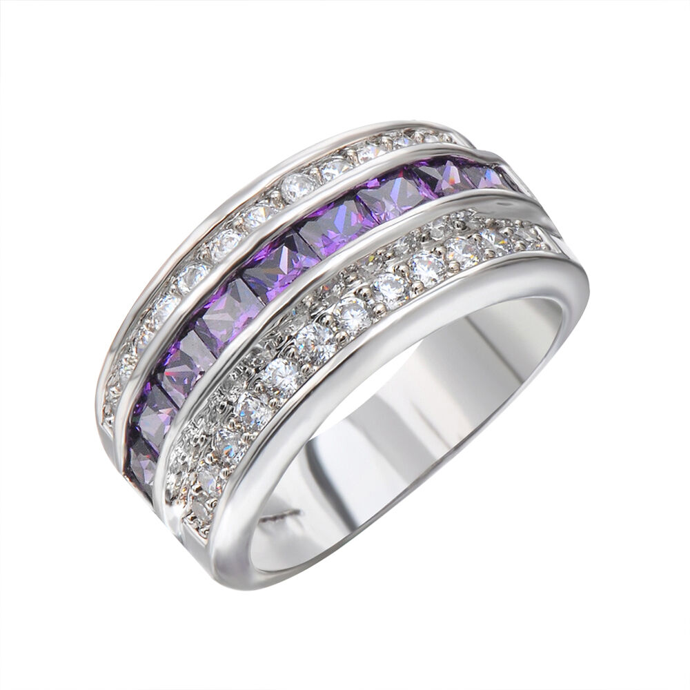 Purple Amethyst Crystal Wedding Band New Ring Size 6 12 Womens 10Kt White G