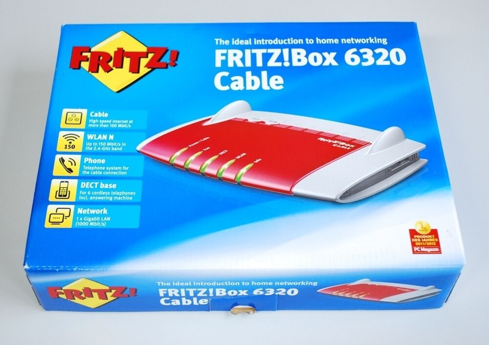 fritzbox 6320 cable v2 wlan box dect phone fritz box 6320 cable modem unitymedia ebay. Black Bedroom Furniture Sets. Home Design Ideas