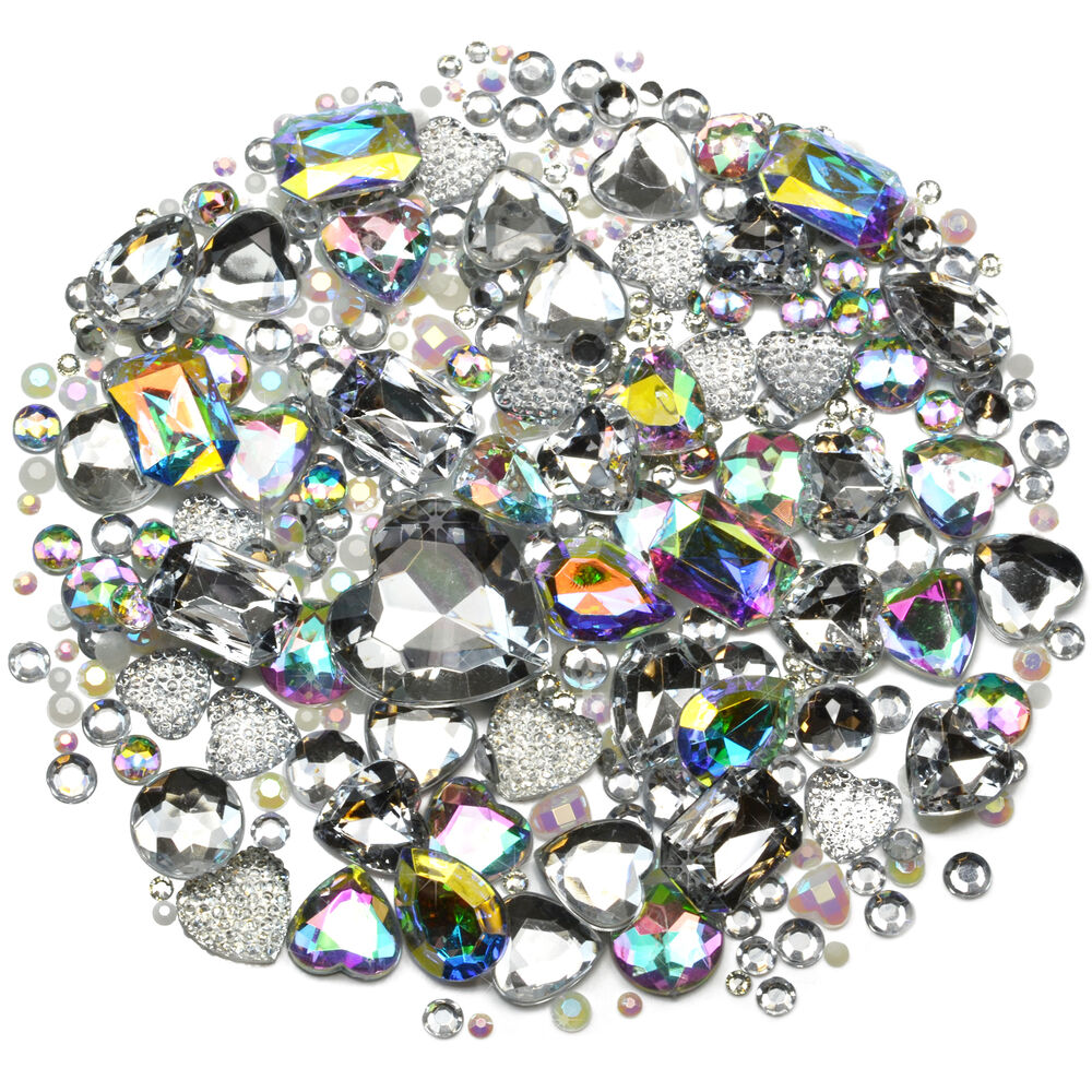 Ice mix set of gems rhinestones diamantes crystal for Rhinestone jewels for crafts