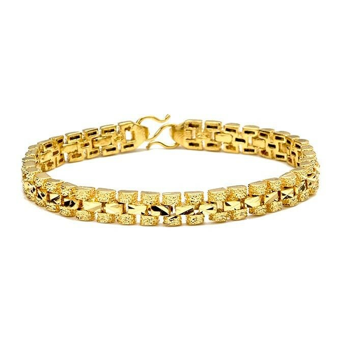 Gold Link Bracelet Womens: 18K Yellow Gold Filled Womens Bracelet Charms Chain 7.3