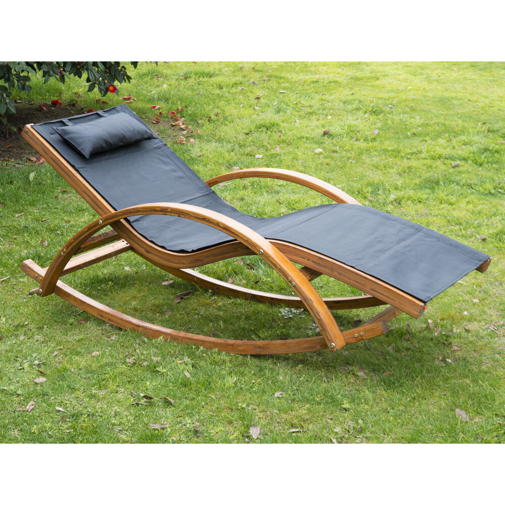Outsunny Outdoor Rocking Mesh Recliner Reclining Wooden