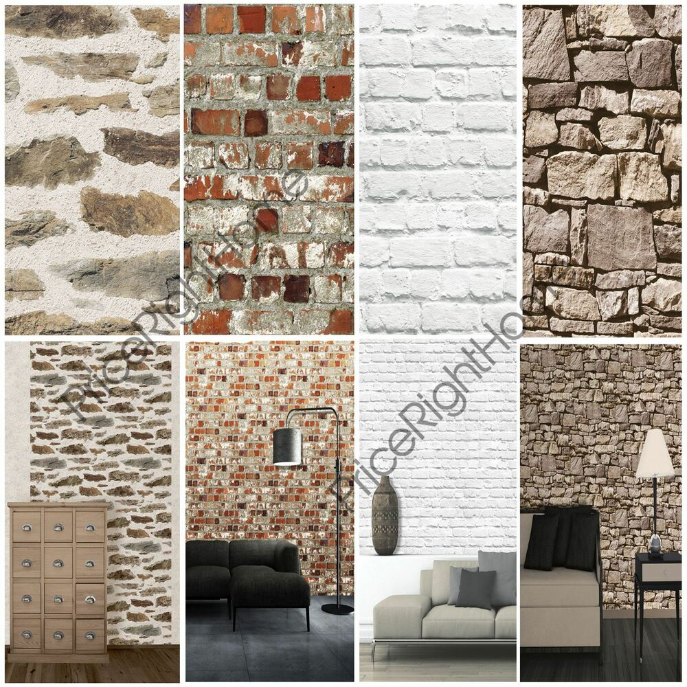 muriva brick effect wallpaper various colours available. Black Bedroom Furniture Sets. Home Design Ideas