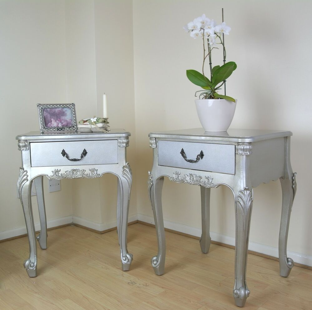 French Rococo Antique Silver Boudoir Single Drawer Bedside