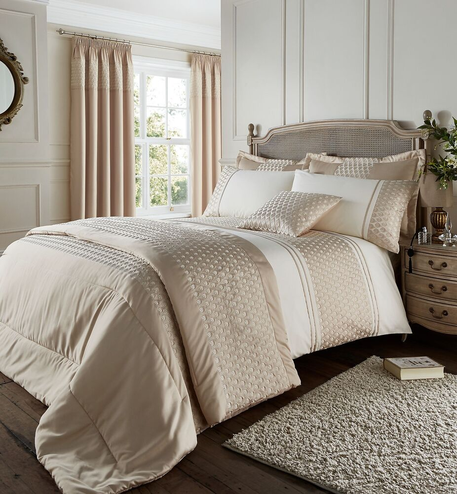 Gold Amp Cream Duvet Cover Set Embroidered Faux Silk Satin