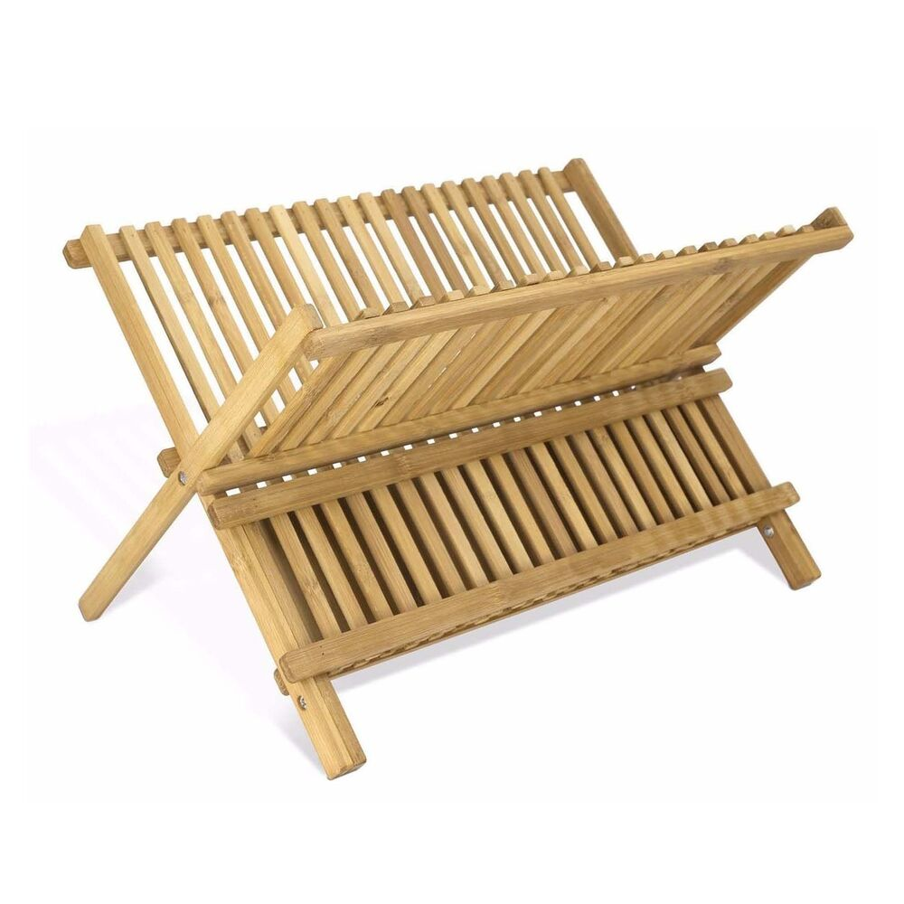 2 tier 100 bamboo folding dish draining and drying rack 17 x 13 x 11 inches ebay. Black Bedroom Furniture Sets. Home Design Ideas