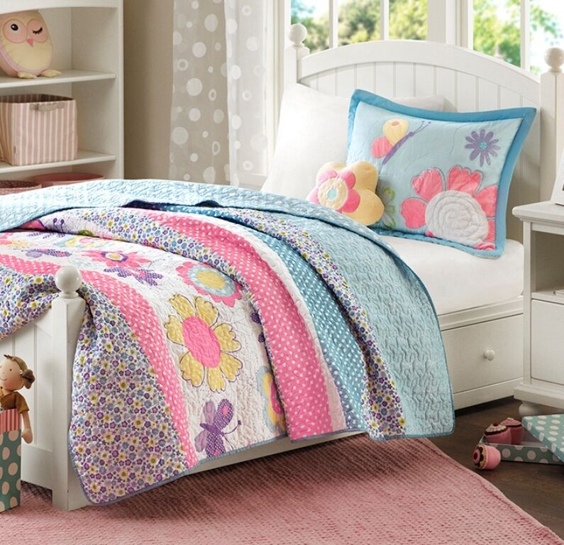 crazy daisy twin quilt set teen girls blue floral garden flowers bedding ebay. Black Bedroom Furniture Sets. Home Design Ideas