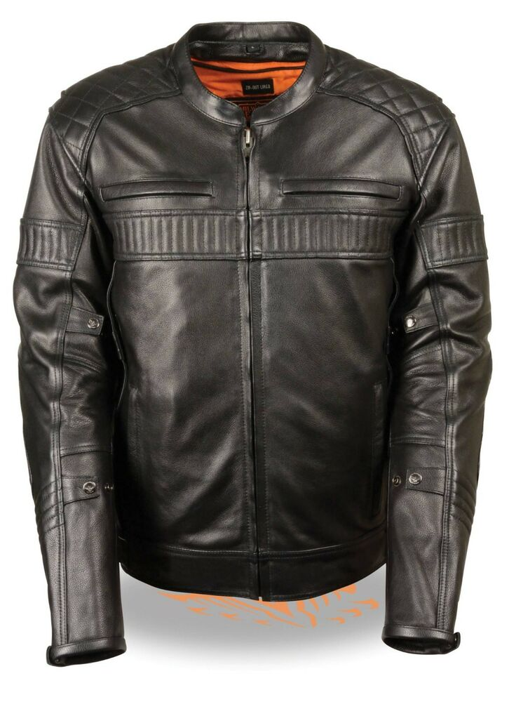 Mens Black Leather Triple Vent Scooter Jacket W Gun