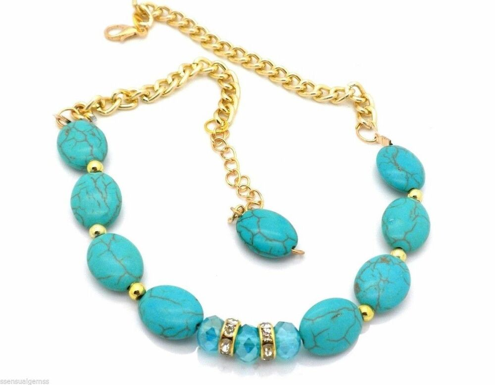 New plus size anklet women ankle bracelet howlite gold for Plus size jewelry bracelets