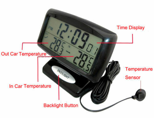 auto voltage monitor lcd digital car inside outside thermometer clock black ebay. Black Bedroom Furniture Sets. Home Design Ideas